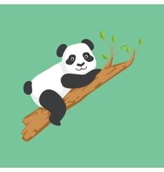 Cute panda character climbing a tree vector