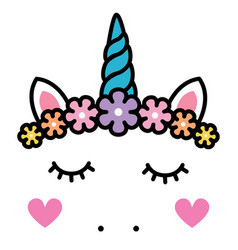 Cute unicorn face with pastel rainbow flowers vector