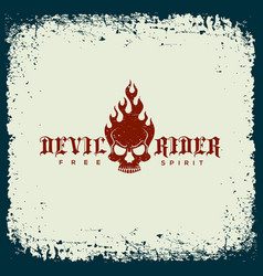 devil rider label vector image