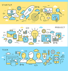digital blue startup business icons vector image vector image