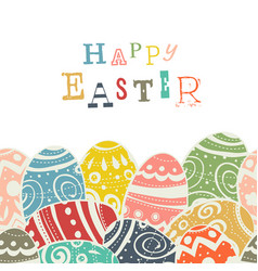 Easter eggs on white eggs border by down side vector