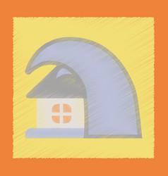 Flat shading style icon tsunami house vector