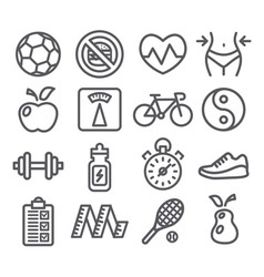 Health and Fitness line icons vector image