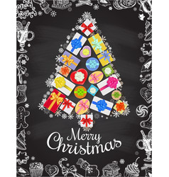 holiday christmas and new year card template vector image