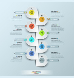 Infographic design template with vertical timeline vector