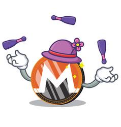 Juggling monero coin character cartoon vector