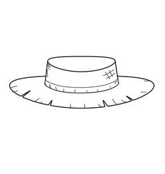 Line cute pesant hat to use in the farm work vector