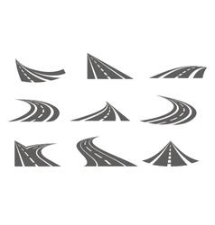 Monochrome curvy roads set vector
