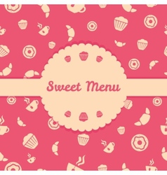 Pink menu cover design with sweets icons seamless vector image vector image