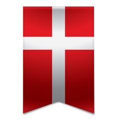 Ribbon banner - danish flag vector image