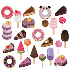 Set of delicious sweets and desserts with fruits vector