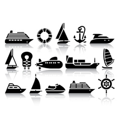 Set of water transport black icons vector