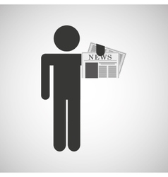 Silhouette man newspaper icon vector