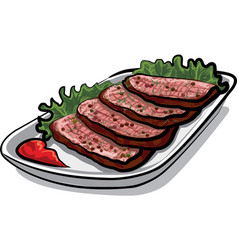 Sliced roast beef vector