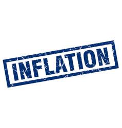 Square grunge blue inflation stamp vector