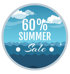 summer sale promotion sticker sea sky vector image