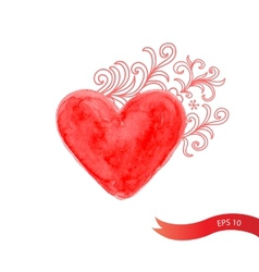 Watercolor red heart with flowers vector image vector image