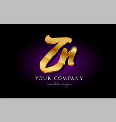 zn z n 3d gold golden alphabet letter metal logo vector image