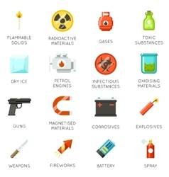 Airport dangerous and prohibited luggage icons vector
