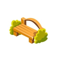 Wooden bench with back isometric garden vector