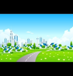 Green landscape with city and small village vector
