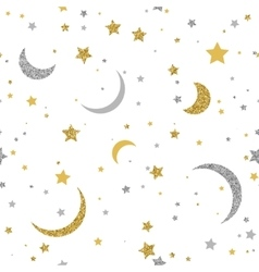 Starry seamless background with gold and silver vector