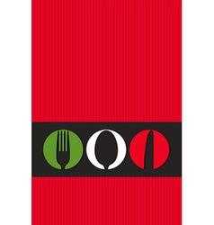 Italian menu design with cutlery symbols vector image