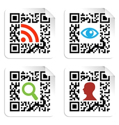 Social icons set with qr code sign label vector