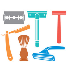 shaving razor and brush icons vector image