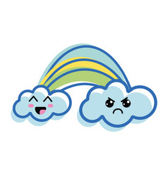 Kawaii rainbow with clouds with faces expression vector