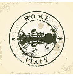 Grunge rubber stamp with rome italy vector