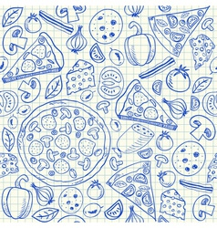 Pizza doodles seamless pattern vector