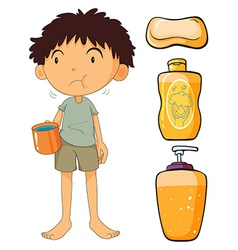 Boy holding cup and other objects vector image