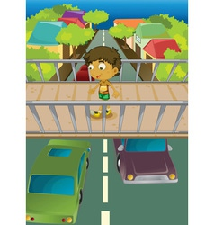 Boy on overpass vector