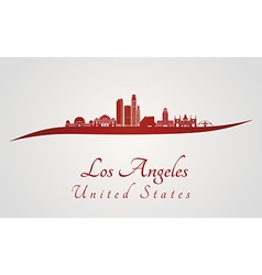 Los angeles skyline in red vector