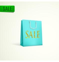 azure shopping bag sale concept vector image