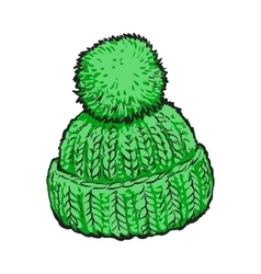 Bright green winter knitted hat with pompon vector