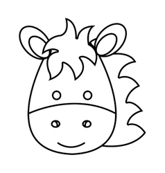 Cute little horse animal character vector