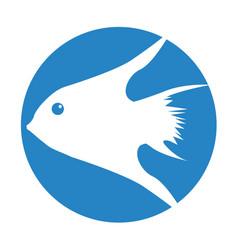 Exotic fish silhouette icon vector