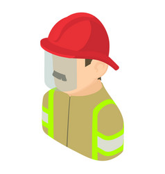 Firefighter man icon isometric 3d style vector