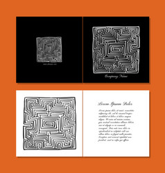 greeting cards design labyrinth square vector image