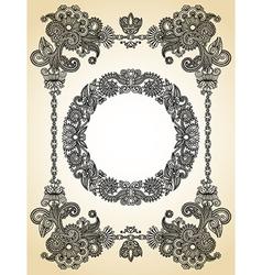 hand draw ornate floral vintage frame vector image vector image