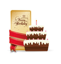 Happy birthday cake sweet decorative card ribbon vector