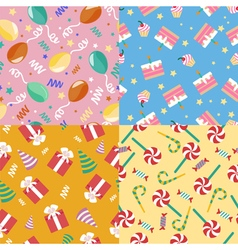 Happy birthday seamless patterns set vector