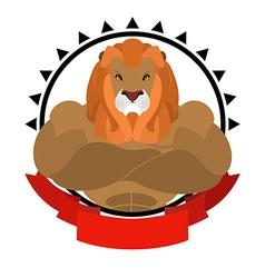Lion athlete round emblem big wild animal with vector