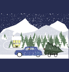 man drives in a retro car on a winter road vector image