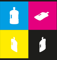 plastic bottle silhouette sign white icon vector image vector image