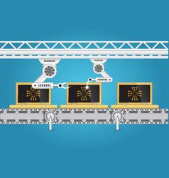 Production line laptop vector