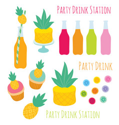 Set of decorative design elements for party vector