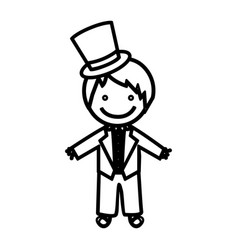 Sketch silhouette man with costume wedding icon vector